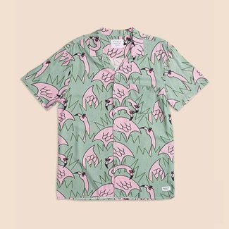 Duvin Design Co. Flock of Flamingos Button Up Shirt