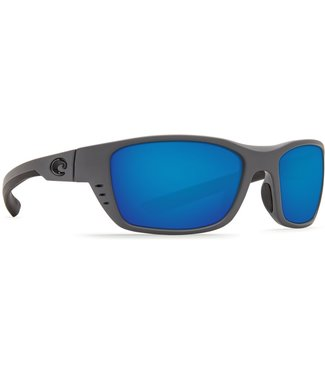 Costa Del Mar Whitetip Matte Grey 580P Blue Mirror Lens Sunglasses
