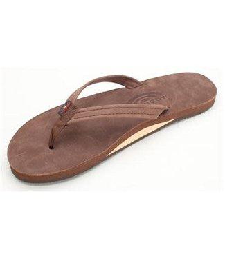 Rainbow Narrow Strap Expresso Premier  Leather Sandals