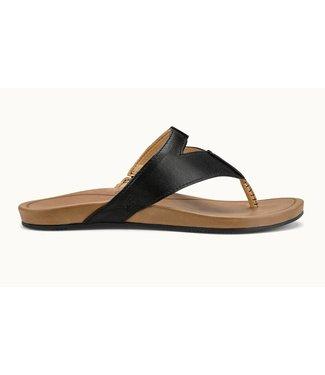 Olukai Lala Black/Tan Leather Sandals