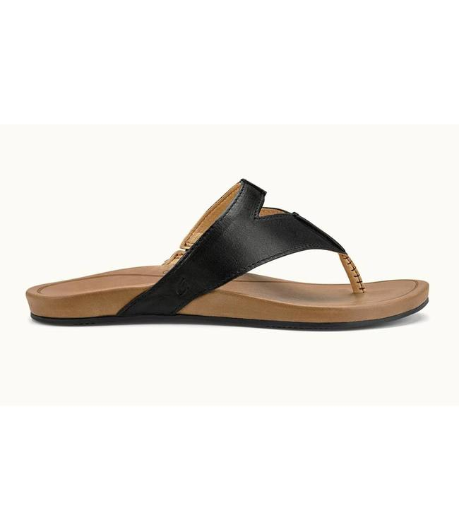 Olukai Lala Black/Tan Leather Sandals