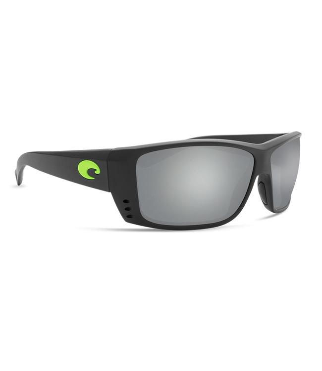 8559afae62d94 Costa Del Mar Cat Cay Mt Black and Green Logo 580G Silver Mirror Lens  Sunglasses
