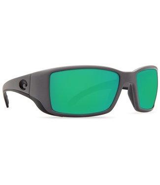 Costa Del Mar Blackfin Matte Gray 580G Green Mirror Sunglasses