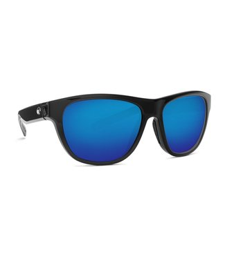 Costa Del Mar Bayside Shiny Black 580P Blue Mirror Lens Sunglasses