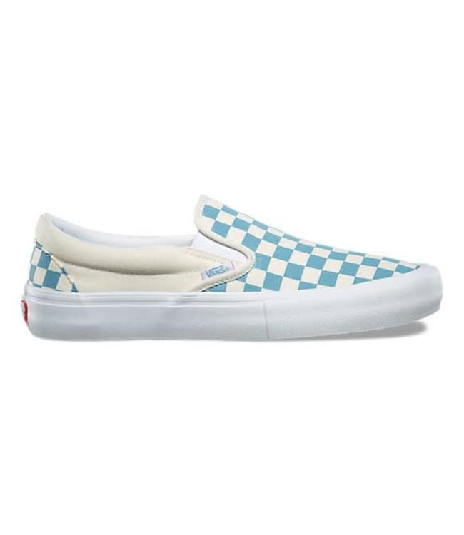 63a7b9e577 Vans Slip-On Pro Checkerboard Adriatic Blue Skate Shoes