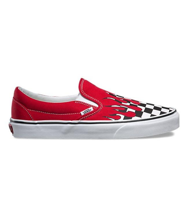 Vans Checker Flame Racing Red White Slip On Shoes - Drift House Surf ... 44049ec07d