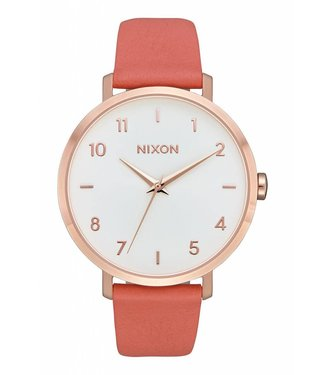 Nixon Arrow Rose Gold and Salmon Leather Watch