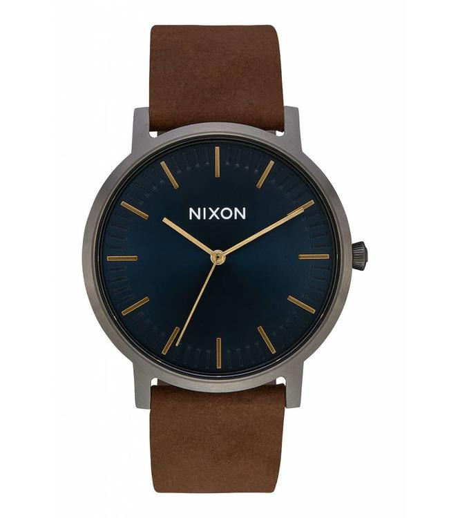 Nixon Porter Gunmetal and Indigo Leather Watch