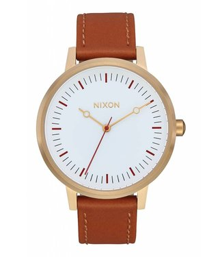 Nixon Kensington Gold Red and Saddle Leather Watch