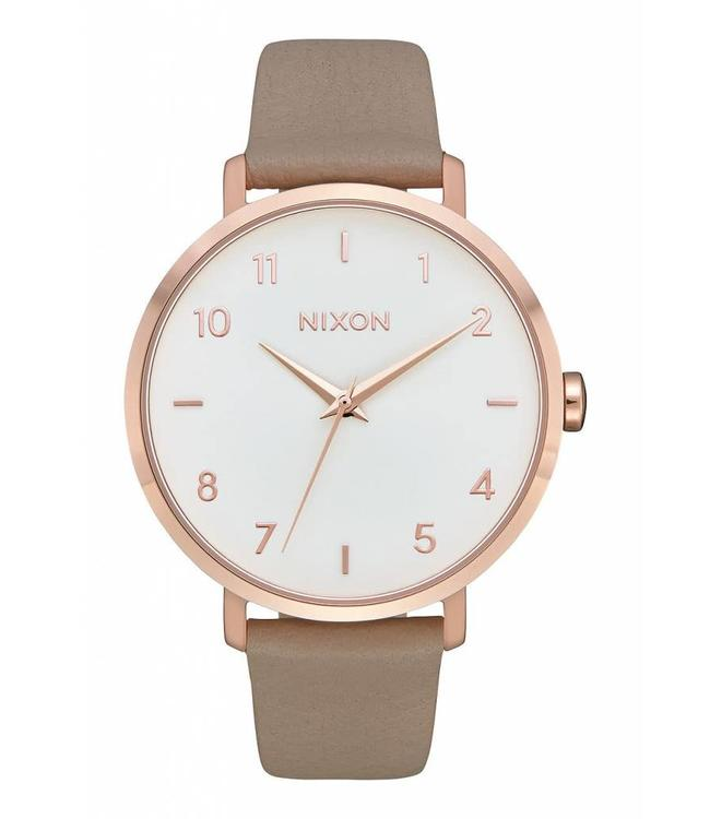 Nixon Arrow Rose and Gold Leather Watch