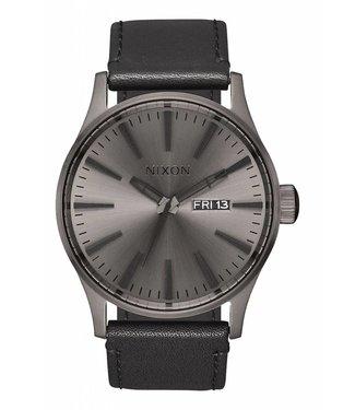 Nixon Sentry Gunmetal and Black Leather Watch