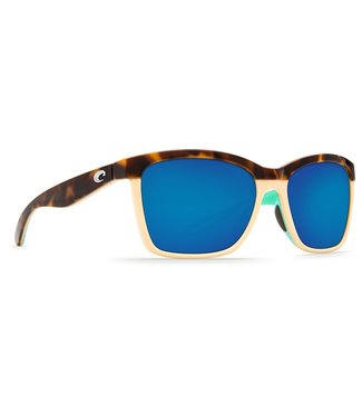Costa Del Mar Anaa Shiny Retro Tort 580G Blue Mirror Lens Sunglasses