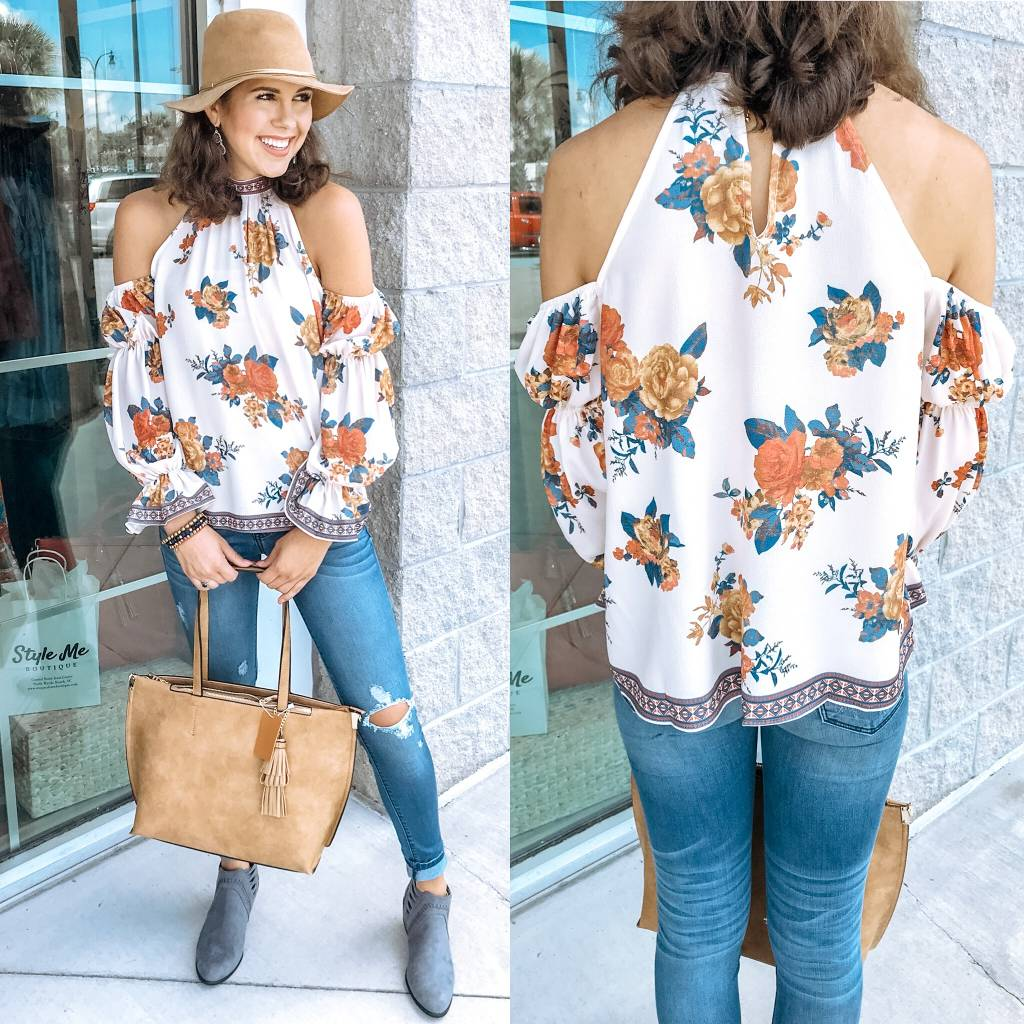 Cold Shoulder Floral Top - Ivory