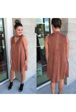 Keyhole Suede Dress - Brick