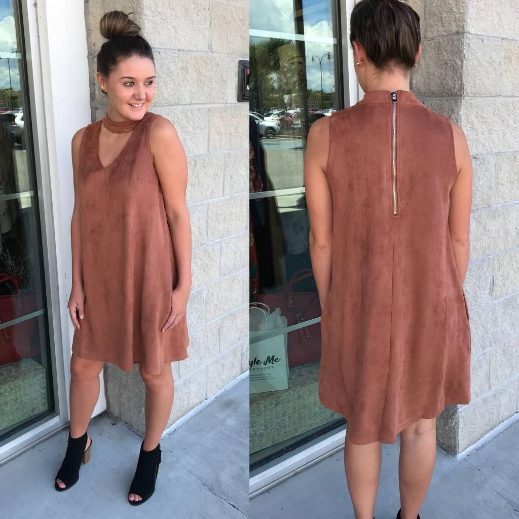 Keyhole Suede Dress - Brick