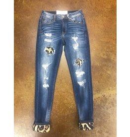 Animal Print Detail Jeans
