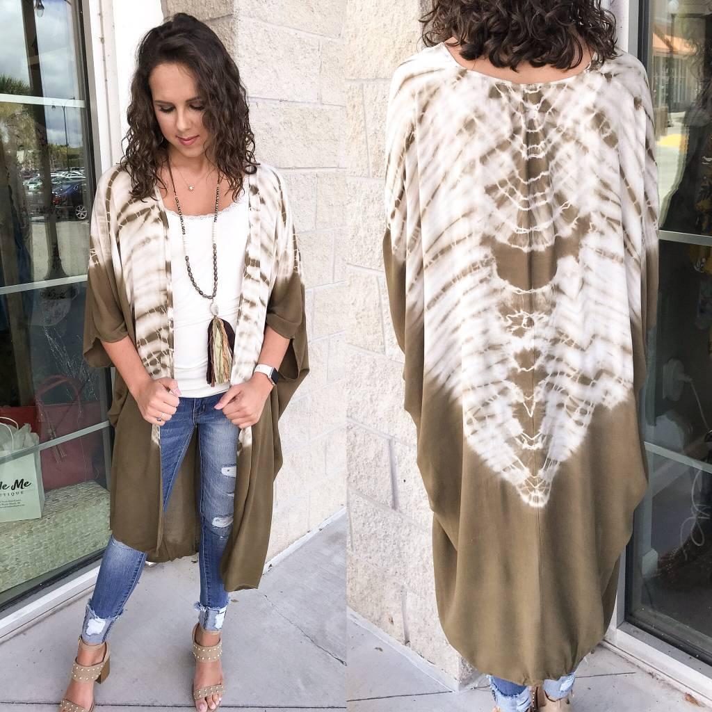 Tie Dye Kimono - Olive