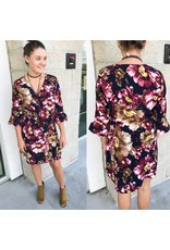 Floral Wrap Dress - Plum
