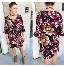 Floral Wrap Dress - Plum