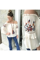 Embroidery Detail Off Shoulders Top - Cream