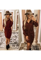 Twisted Detail Button Down Dress - Burgundy
