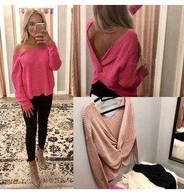 Main Strip Open Back Sweater