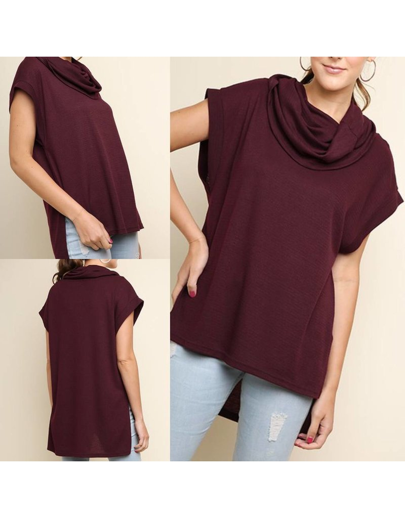 Cowl Neck Hi/Low Tunic - Wine