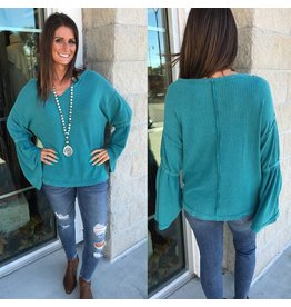 Waffle Knit Bell Sleeves Tunic - Teal
