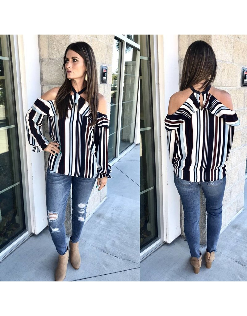 Space 46 Striped Open Shoulder Top - Navy
