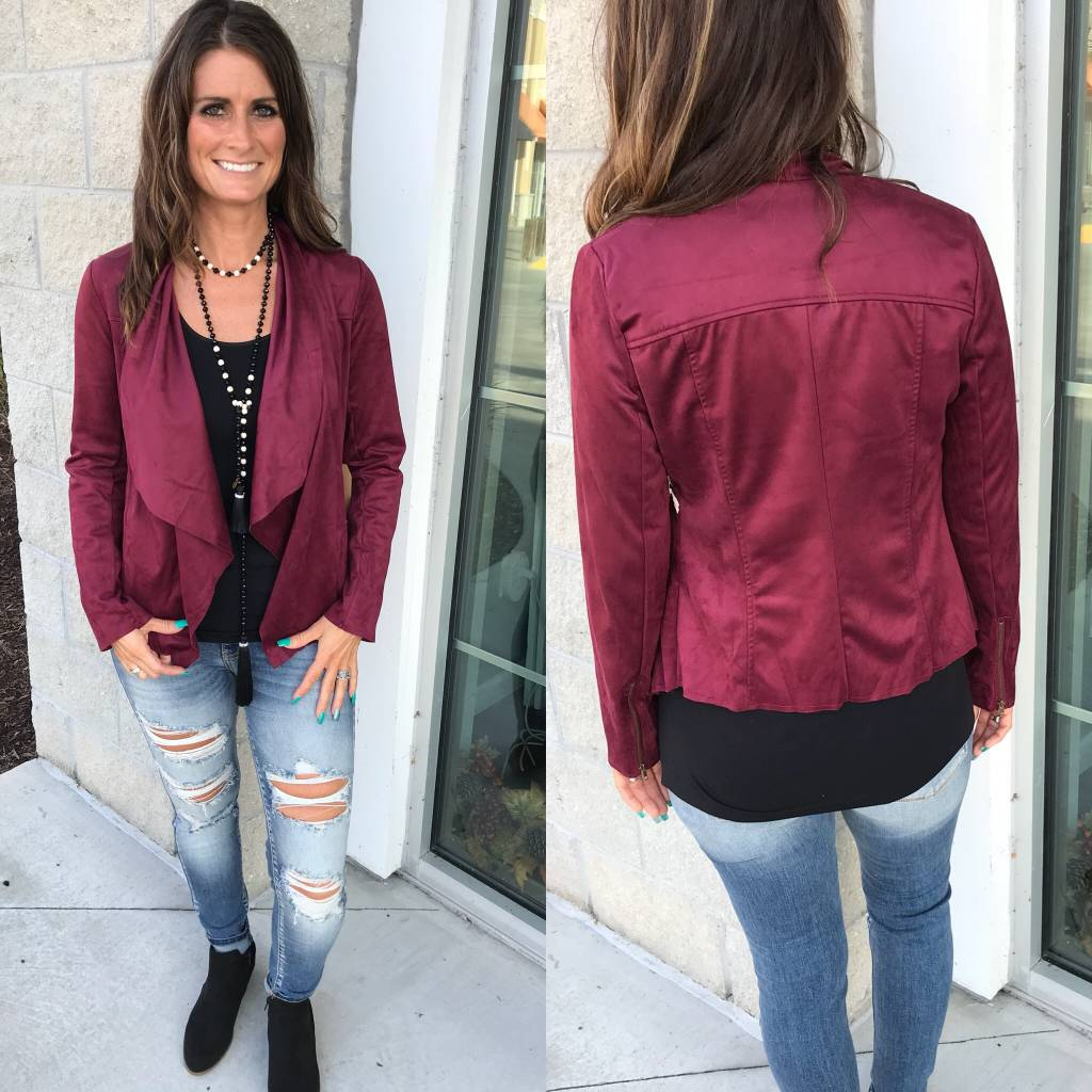 Open Front Suede Jacket - Burgundy