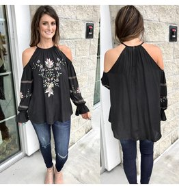 Embroidery Detail Open Shoulder Top - Black