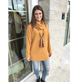 2267 Oversized Cowl Neck Sweater - Mustard