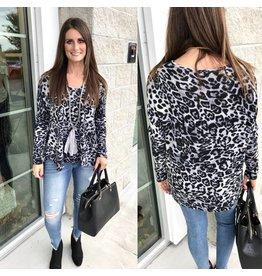 Leopard Sweater Tunic - Grey