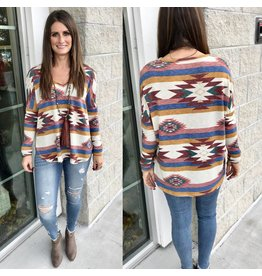 Aztec Print Tunic - Cream