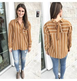 Back Tie Detail Striped Top - Mustard