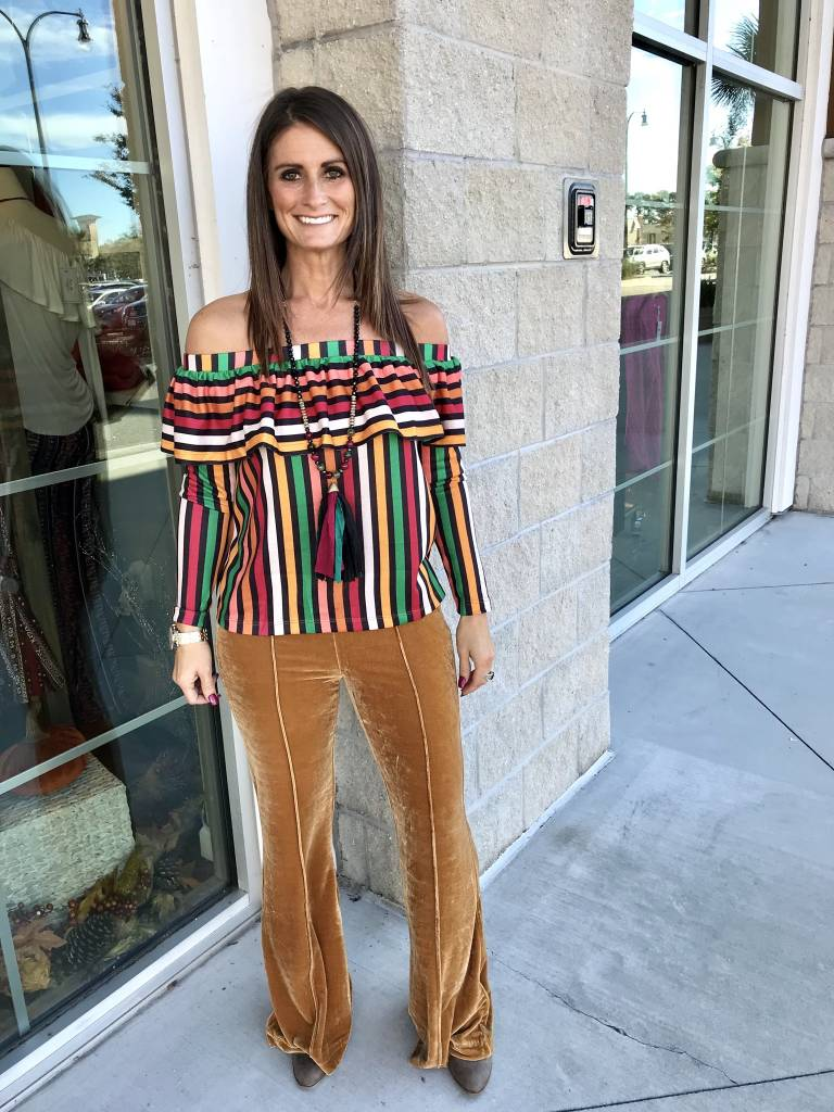 Striped Off Shoulders Top - Multi