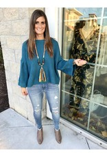 SL7791 Bell Sleeves Waffle Sweater - Teal