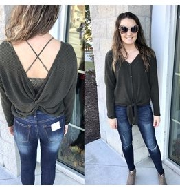Twisted Back Button Down Top - Olive