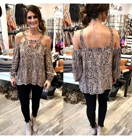 Snakeskin Open Shoulder Top - Mocha
