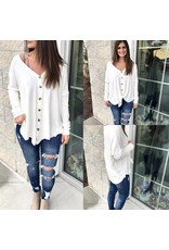 Button Down Knit Top - Ivory