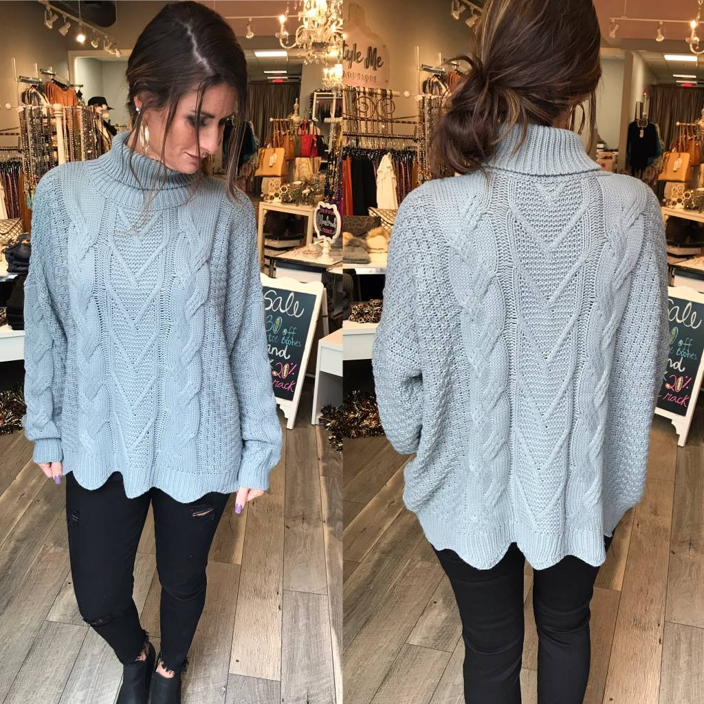 Cable Knit Turtleneck Sweater - Cement