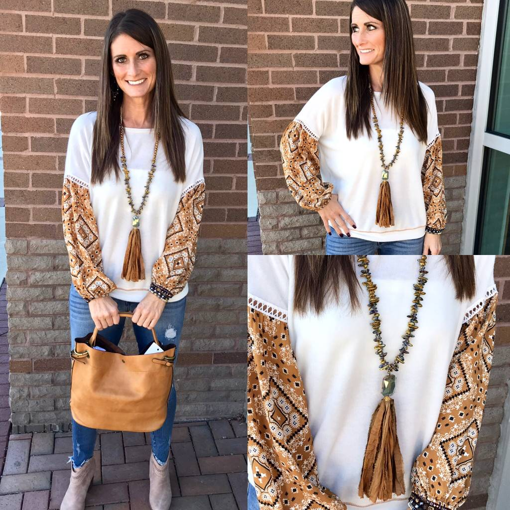 Knit Top W/Contrast Sleeves - Ivory