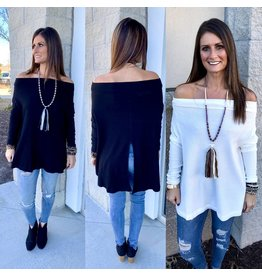 Off Shoulders Back Slit Tunic