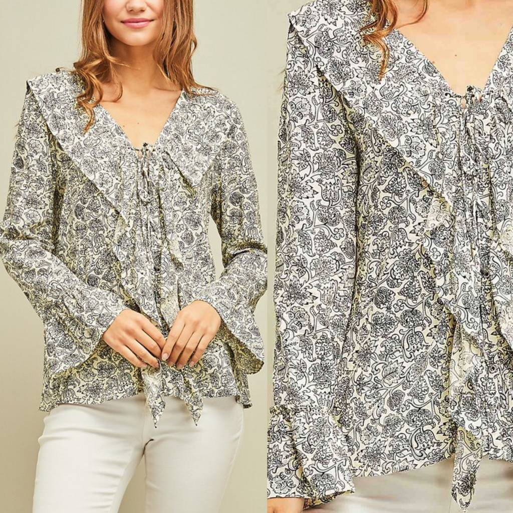 Ruffle Detail Floral Top - Ivory