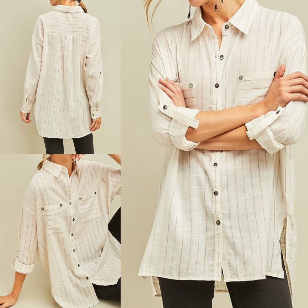 Striped Linen Tunic - Natural