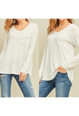 Long Sleeve Pocket Top - Off White