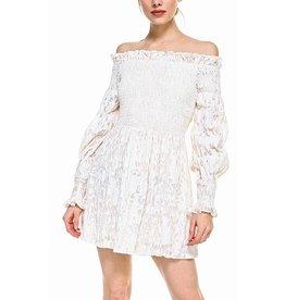 TCEC Off Shoulders Floral Dress - Cream