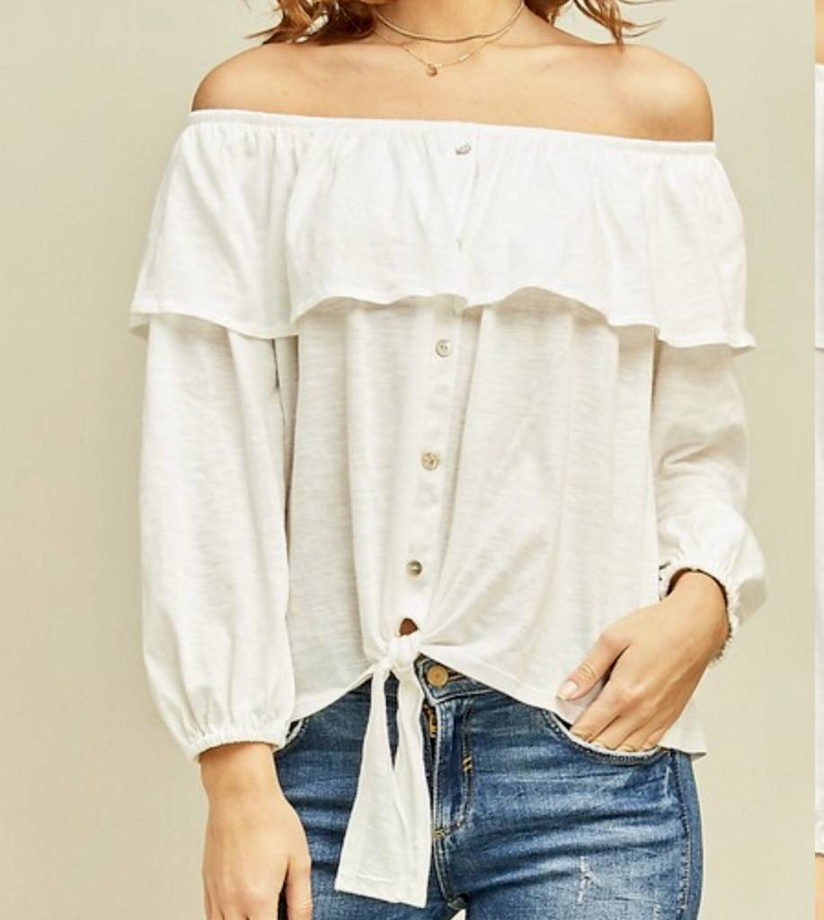 Button Down Off Shoulders Top - Off White