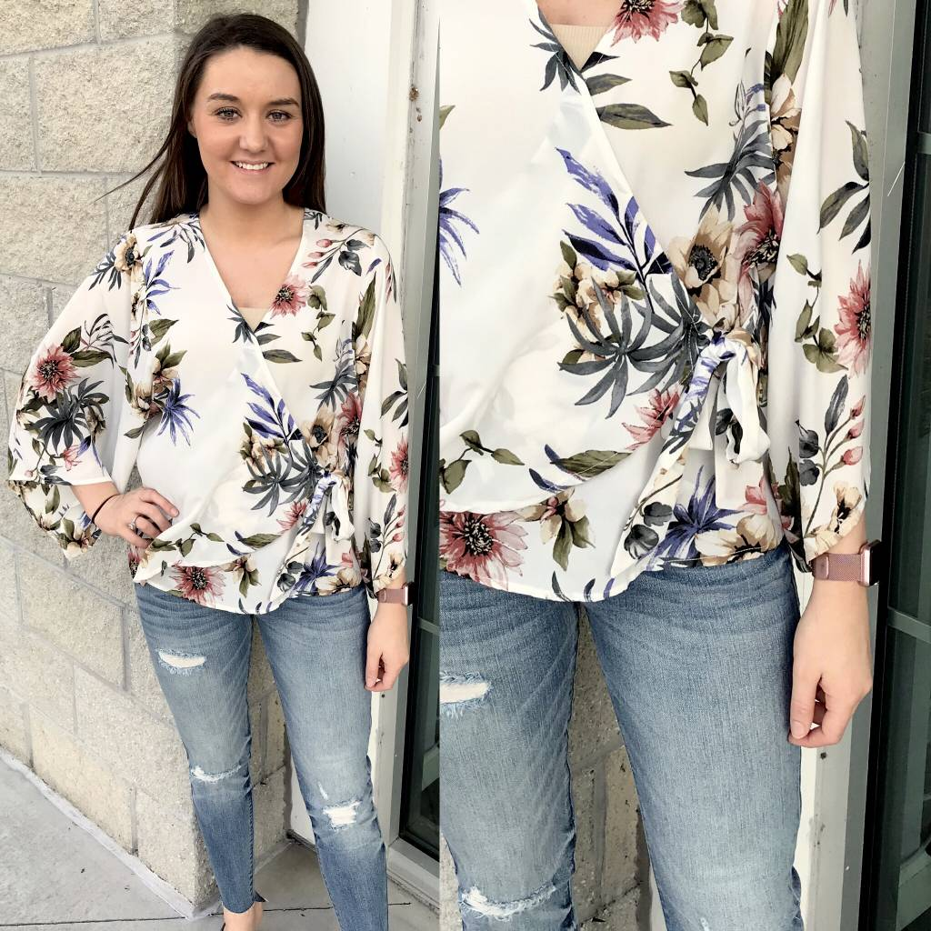 Floral Wrap Top - Ivory