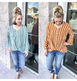 Striped Twisted Front Top